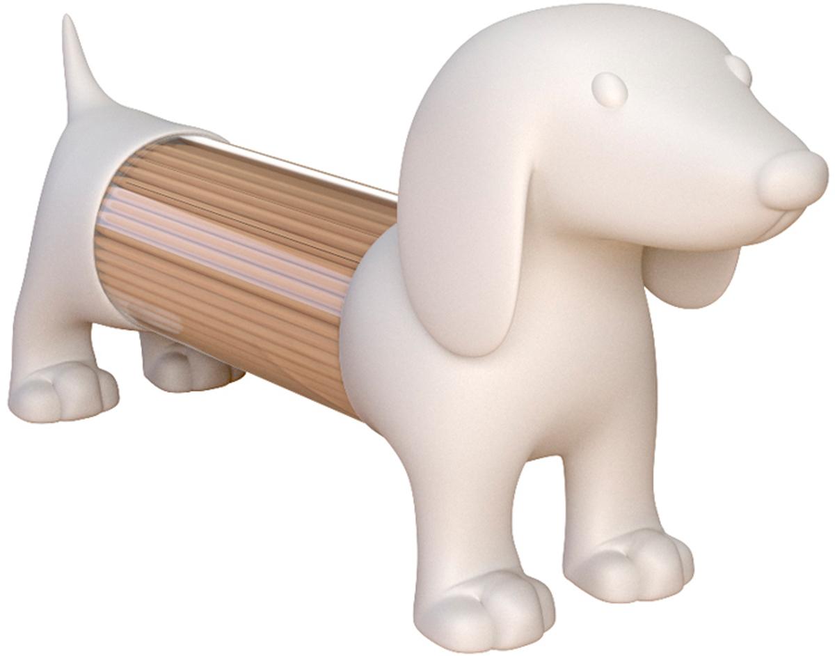 Емкость для специй или зубочисток Balvi Teckel, цвет: белый25989Емкость для специй или зубочисток Teckel создана специально для тех, кто любите все нестандартное, необычное и креативное. Она изготовлена в форме длинной собачки, напоминает таксу, поэтому в нее легко помещаются зубочистки. Под хвостом находится дырочка для высыпания специй или зубочисток, а засыпать все можно, отсоединив задние лапки от корпуса.- Изготовлен из приятного на ощупь софт-тач пластика.- Прозрачный экран по периметру для определения степени наполненности.- Каждая емкость по отдельности универсальна - подходит как под мелкие специи, так и под зубочистки.
