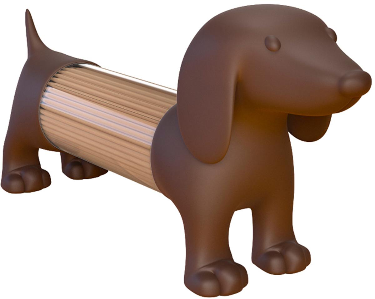 Емкость для специй или зубочисток Balvi Teckel, цвет: коричневый25991Если вы любите все нестандартное, необычное и креативное, то емкости для специй или зубочисток Teckel созданы специально для вас. Они изготовлены в форме длинной собачки, напоминают таксу, поэтому в них легко помещаются зубочистки. Емкости представлены в трех цветах, поэтому купив сразу 3 штуки, вы получаете оригинальный набор. Белую собачку можно использовать для соли, черную для молотого перца, а коричневую - для зубочисток. Под хвостом находится дырочка для высыпания специй или зубочисток, а засыпать все можно, отсоединив задние лапки от корпуса.-Изготовлен из приятного на ощупь софт-тач пластика-Прозрачный экран по периметру для определения степени наполненности-Три цвета на выбор: белый, черный и коричневый-Каждая емкость по отдельности универсальна - подходит как под мелкие специи, так и под зубочистки