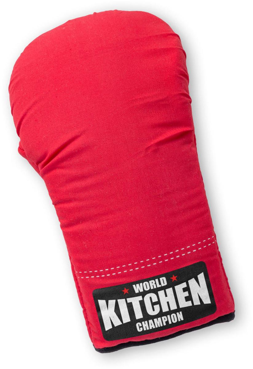 """Прихватка для горячего """"Boxing Champ"""" выполнена в форме боксерской перчатки. Текстильная прихватка красного цвета с соответствующей тематической  надписью удобно сидит на руке, выполнена из плотного материала, поэтому обеспечивает качественную защиту рук от горячего. Такой подарок  мужчине напомнит ему о том, что он может проявить свою силу и ловкость на кухне. - Оригинальное оформление в виде боксерской перчатки. - Удобство в использовании во время приготовления пищи. - Хорошо защищает руки от ожога при касании к горячим предметам. - Прекрасный подарок мужчинам-кулинарам и просто любителям бокса."""