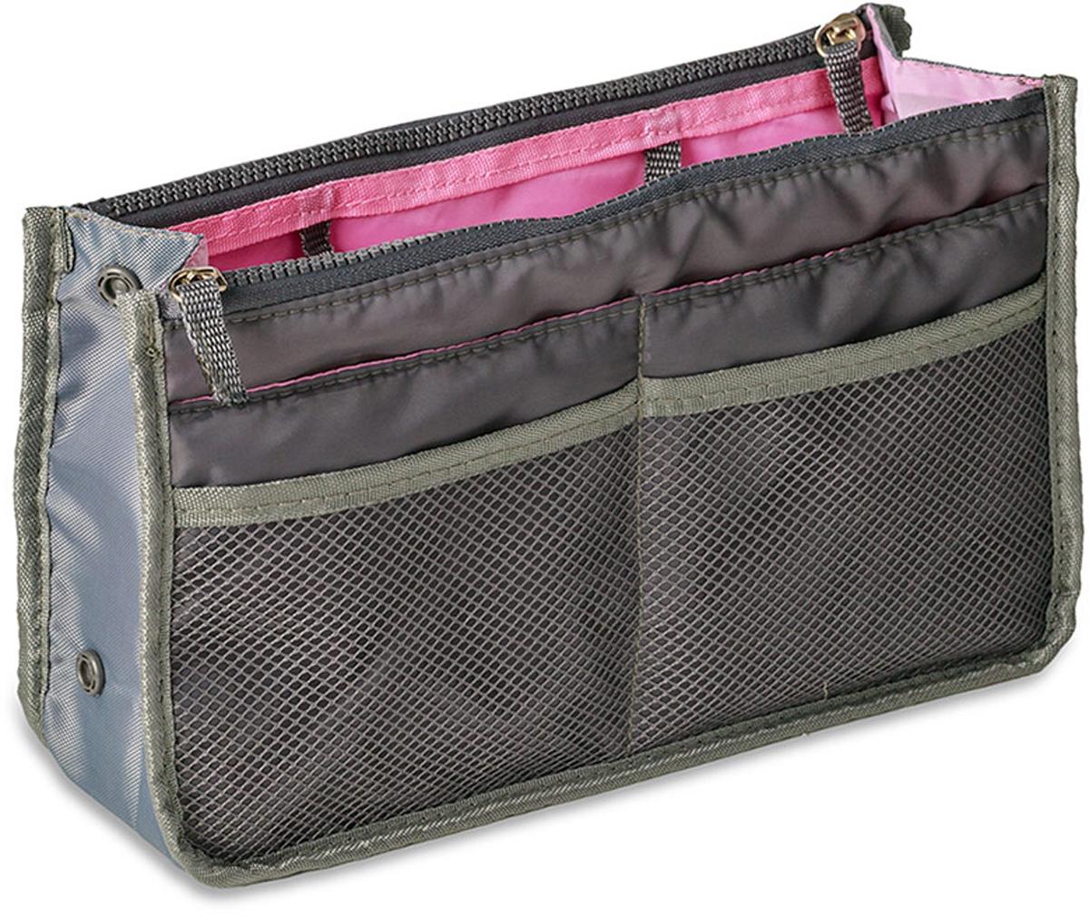 Органайзер для сумки Balvi Kangaroo, цвет: серый26378Есть люди, которые не мыслят жизнь без путешествий и каждый отпуск проводят вне родного города. Если вы принадлежите к их числу, то полезным приобретением будет органайзер для сумки Kangaroo. Этот органайзер испанского производителя Balvi имеет множество кармашков, в которые вы положите все мелочи, так необходимые в дороге: зарядное устройство для телефона, ручку, блокнот, косметические средства и многое другое. Будьте уверены, места для всего хватит. А сам органайзер с легкостью поместится в дорожную сумку, которую вы привыкли брать с собой. - Множество карманов для любых мелочей- Помещается в любую дорожную сумку- Есть кармашки на молнии