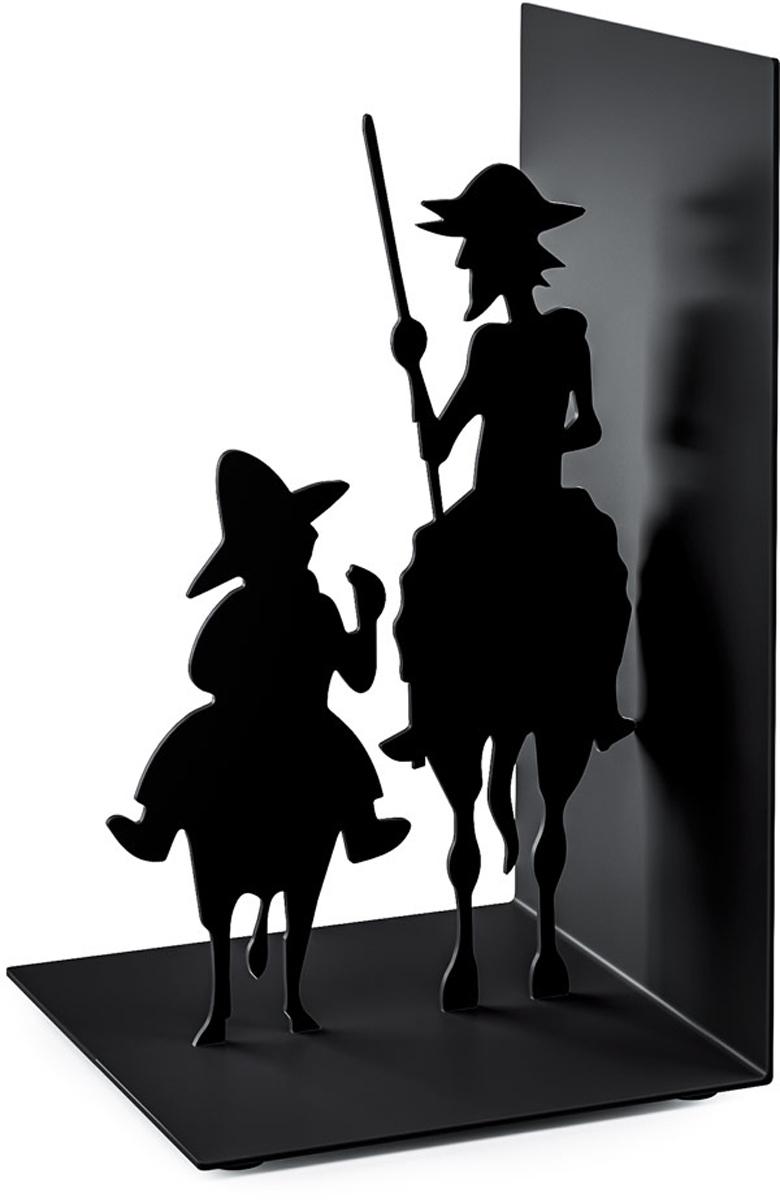 Держатель для книг Balvi Don Quijote, цвет: черный26533Лучшее оформление интерьера, подчеркивающее ценность классической литературы - это оригинальный держатель для книг Don Quijote. Онразработан дизайнерами известной испанской компании Balvi, которая предлагает своим клиентам большой ассортимент стильных инеобычных вещей для вашего дома. Главным украшением являются две фигурки из знаменитого романа Мигеля де Сервантеса. - Элегантное и необычное оформление в виде любимых персонажей. - Прочная металлическая конструкция для нескольких книг. - Компактные размеры и удобный способ эксплуатации.