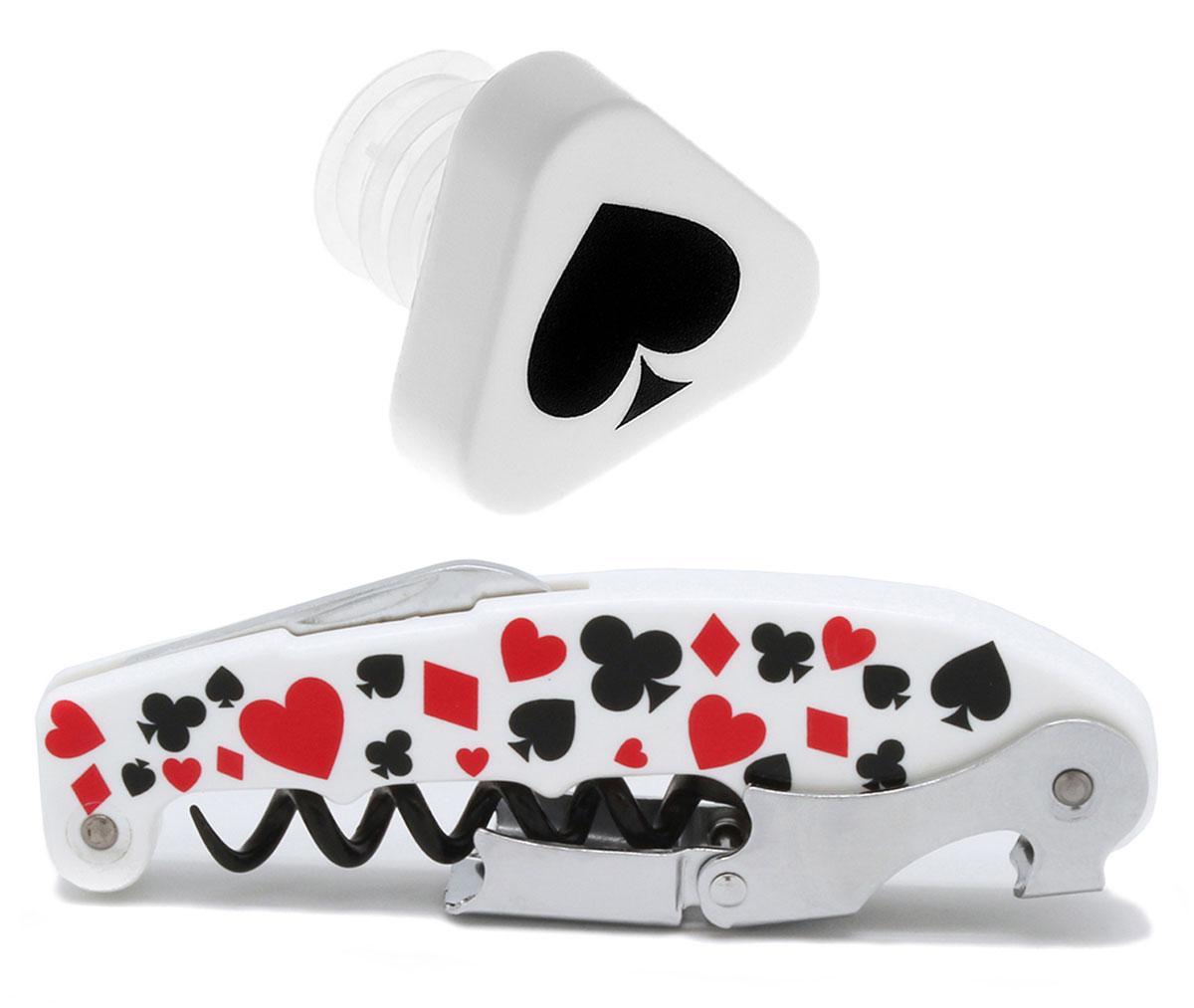 """Набор для вина """"Poker"""" от испанского бренда Koala выполнен в фирменном стиле знаменитой карточной игры. Готовое решение на подарок! Сет оптимален для домашнего использования.  В набор входят: штопор """"Retro"""", пробка-каплеуловитель.    Штопор """"Retro"""": - Позволяет комфортно срезать фольгу, легко и быстро открыть винные бутылки. - Рукоятка украшена """"карточным"""" принтом. - Спираль с тефлоновым покрытием легко входит в пробку, предотвращая ее разламывание. - Запатентованная технология - """"храповый механизм"""" двойного рычага с 7 позициями - обеспечивает комфортное извлечение пробки. - """"Умная головка"""" с 2-рычажной системой позволяет открыть бутылку двумя движениями.   Пробка-каплеуловитель: - Каплеуловитель хорошо фиксируется в горлышке. - Пробка декорирована пикой - самой сильной мастью карточной колоды. - Комфортно вставляется и вынимается из бутылки. - Предотвращает вытекание вина.        Произведено в Испании. Поставляется в подарочной упаковке."""