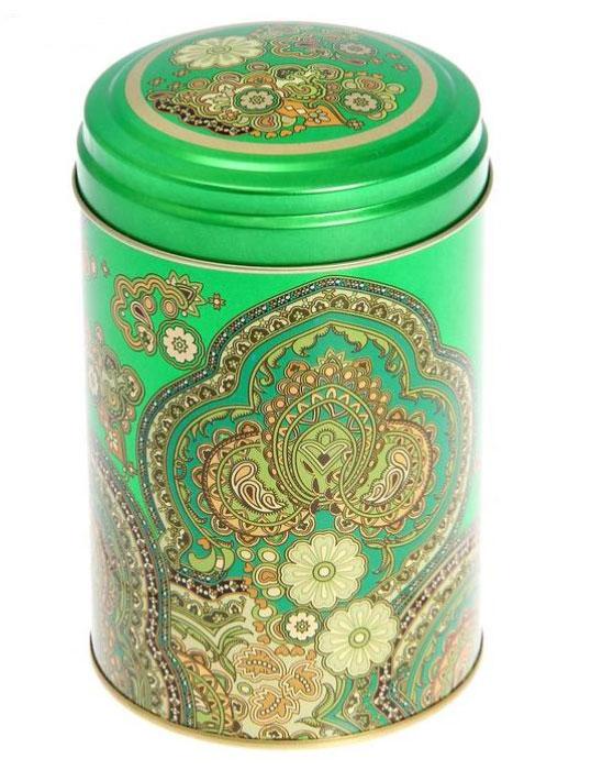 Банка для сыпучих продуктов Арабески, цвет: зеленый, золотой, 1,1 л1528377Жестяная банка для сыпучих продуктов Арабески отлично подойдет для хранения круп, сахара, чая, кофе и многого другого. Крышка плотно закрывается и защищает содержимое от влаги и пыли. Изделие оформлено восточным узором. Диаметр банки: 10 см. Высота банки: 14,5 см.