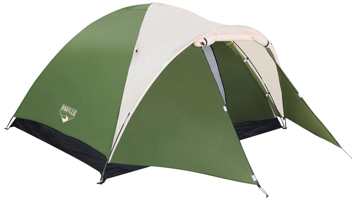 Bestway Палатка Montana X4 Tent, 4-местная68041Двухслойная палатка Bestway Montana X4 Tent изготовлена из полиэстера 190Т с полиуретановым покрытием PU600m. Дно палатки выполнено из полиэтилена плотностью 115 г/м2. Специально разработанная обтекаемая форма палатки обеспечивает устойчивость в ветреную погоду. Передний навес создает дополнительное пространство. Предусмотрена плотная дверь с антимоскитной сеткой и окна. Внутри палатки расположен небольшой карман для хранения мелочей. Палатка рассчитана на 4 взрослых. Легко чистится мягкой сухой губкой, естественная сушка. Размер: (100+210) х 240 х 130 см.