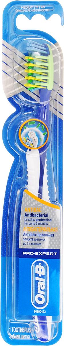 Oral-B Зубная щетка Pro-Expert антибактериальная, средней жесткости, цвет темно-синий, белыйORL-75073851_темно-синийЗубная щетка Oral-B Pro-Expert антибактериальная не предназначена для детей младше трех лет.Антибактериальные щетинки содержат частицы серебра и помогают замедлить рост бактерий. Щетинки не уничтожают бактерии во рту и не защищают от болезней.Товар сертифицирован.