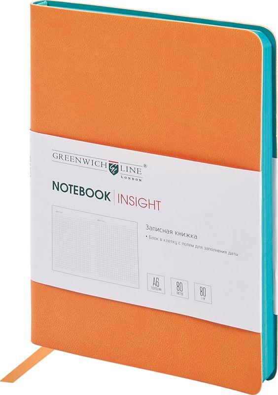 Greenwich Line Записная книжка Лайт Insight 80 листов в клетку цвет оранжевыйNA6CR-11231Стильная записная книжка с ярким цветным контрастным срезом и ультра-мягкой обложкой из 2 слоев высококачественного кожзаменителя. Внутренний блок из высококачественной тонированной офсетной бумаги повышенной плотности 80 г/м2, клетка, пантонная печать. Прошитый блок. Закладка-ляссе в цвет обложки. Индивидуальная упаковка. Подходит под персонализацию.