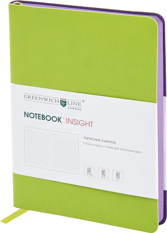 Greenwich Line Записная книжка Лайт Insight 80 листов в клетку цвет салатовыйNA6CR-11235Стильная записная книжка с ярким цветным контрастным срезом и ультра-мягкой обложкой из 2 слоев высококачественного кожзаменителя. Внутренний блок из высококачественной тонированной офсетной бумаги повышенной плотности 80 г/м2, клетка, пантонная печать. Прошитый блок. Закладка-ляссе в цвет обложки. Индивидуальная упаковка. Подходит под персонализацию.