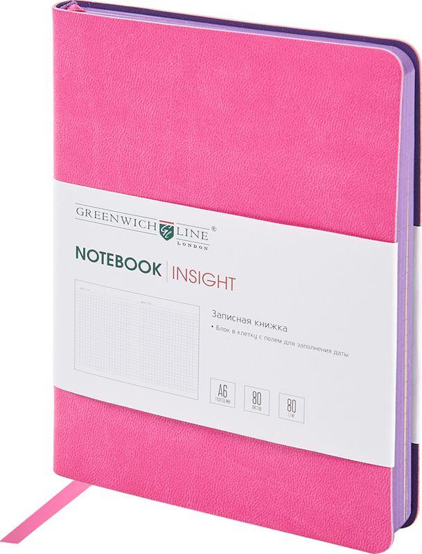 Greenwich Line Записная книжка Лайт Insight 80 листов в клетку цвет розовыйNA6CR-11239Стильная записная книжка с ярким цветным контрастным срезом и ультра-мягкой обложкой из 2 слоев высококачественного кожзаменителя. Внутренний блок из высокачественной тонированной офсетной бумаги повышенной плотности 80 0 г/м2, клетка, пантонная печать. Прошитый блок. Закладка-ляссе в цвет обложки. Индивидуальная упаковка. Подходит под персонализацию.