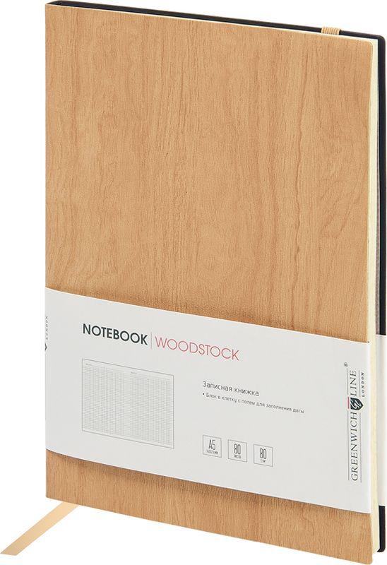 Greenwich Line Записная книжка Лайт Woodstock 80 листов в клетку цвет бежевый формат A5 greenwich line дневник школьный mercury цвет красный