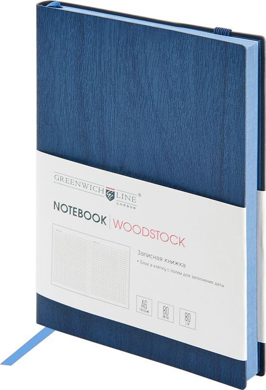 Greenwich Line Записная книжка Лайт Woodstock 80 листов в клетку цвет темно-синий формат A6NA6CR-11273Стильная записная книжка с цветным срезом и мягкой обложкой из высококачественного кожзаменителя с фактурой дерева. Внутренний блок из высококачественной тонированной офсетной бумаги повышенной плотности 80 г/м2, клетка, пантонная печать. Прошитый блок. Закладка-ляссе в цвет обложки. Индивидуальная упаковка. Подходит под персонализацию.