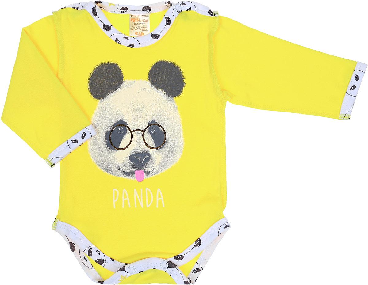Боди детское КотМарКот Панда Rock, цвет: светло-бежевый, желтый. 9526. Размер 749526Боди с длинным рукавом КотМарКот Панда Rock изготовлено из интерлока и оформлено ярким принтом с изображением панды. Материал изделия мягкий и тактильно приятный, не раздражает нежную кожу ребенка и хорошо пропускает воздух. Модель имеет удобные застежки-кнопки на плечах и на ластовице, что позволит легко переодеть ребенка или сменить подгузник. Круглый вырез горловины и проймы для ножек дополнены мягкой эластичной бейкой контрастного цвета. Изделие полностью соответствует особенностям жизни ребенка в ранний период, не стесняя и не ограничивая его в движениях.
