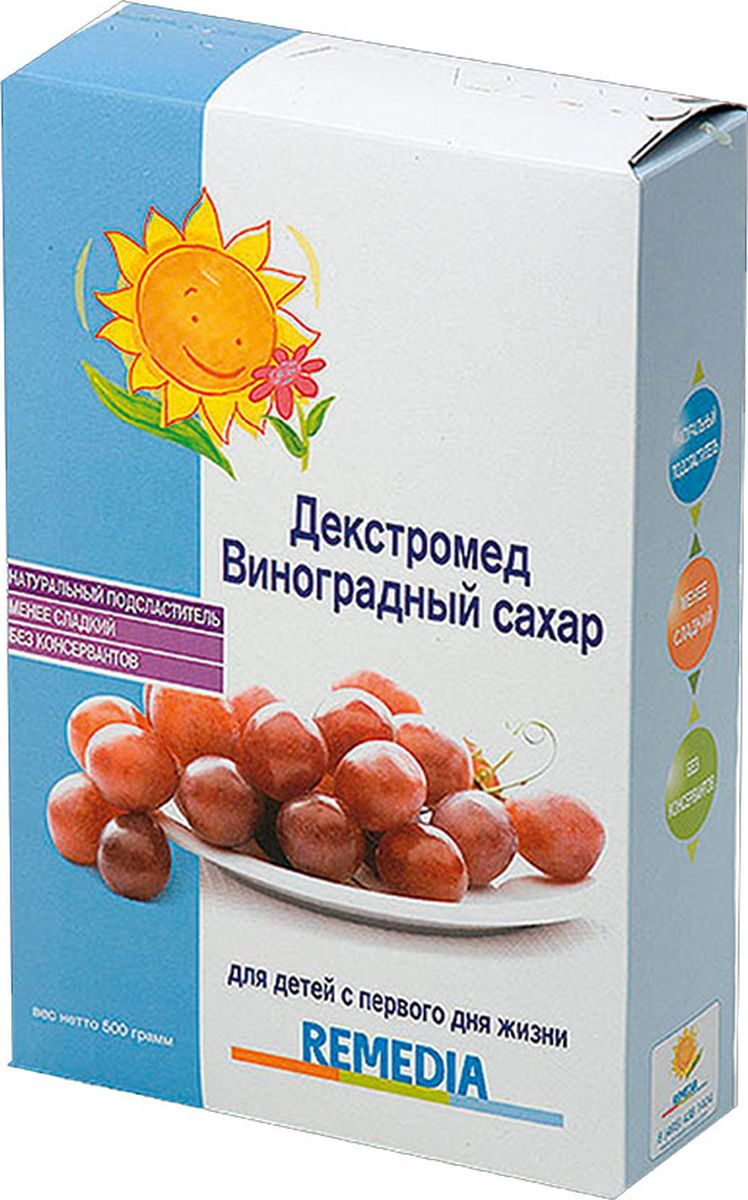 Для детей с первого дня жизни:1. Натуральный подсластитель2. Менее сладкий3. Без консервантовВиноградный сахар Декстромед – натуральный подсластитель для детских каш, напитков, питания на основе молока, овощей или фруктов малышам и детям. Энергия. Молекулы виноградного сахара Декстромед наиболее эффективно удовлетворяют потребность детского организма в энергии. Быстрое всасывание. Виноградный сахар – углевод из группы моносахаридов не вызывает процессов брожения, и всасывается более эффективно, не требуя напряжения незрелых ферментативных систем организма ребёнка. Менее сладкий. По сравнению с обычным сахаром. Виноградный сахар на 30% менее сладкий. Этот факт важен в процессе приучения ребёнка к менее сладкому вкусу пищи.Здоровье зубов. Исследования показали, что использование Виноградного сахара в период прорезывания зубов намного предпочтительнее, т.к. он не способствует появлению кариеса. Рекомендовано с первого дня жизни. Способ применения:- для детей: добавить 1-2 чайные ложки на 100 мл напитка/пищи,- для взрослых: добавить по вкусу.