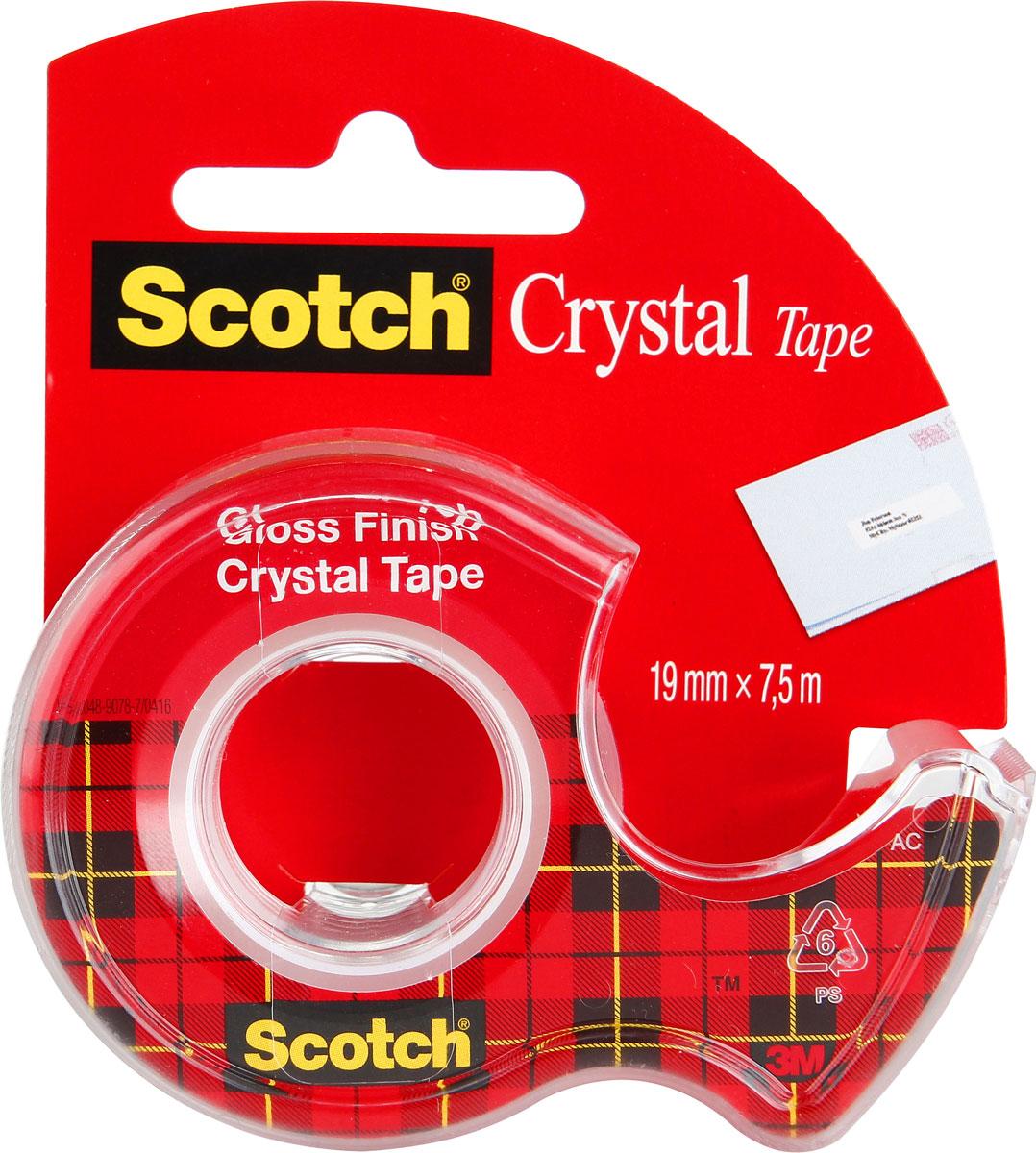 3M Клейкая лента Crystal 19 х 7500 мм6-1975D**Кристально прозрачная канцелярская клейкая лента 3M Crystal идеально подходит для работы в офисе, для ламинации документов и упаковки подарков. Легко и бесшумно разматывается, а при необходимости легко отрывается руками. Отлично приклеивается, не желтеет, долго хранится.Для компактной клейкой ленты на маленьком диспенсере с пластиковым ножом легко найдется место на рабочем столе в офисе и дома.Уважаемые клиенты! Обращаем ваше внимание на то, что упаковка может иметь несколько видов дизайна. Поставка осуществляется в зависимости от наличия на складе.