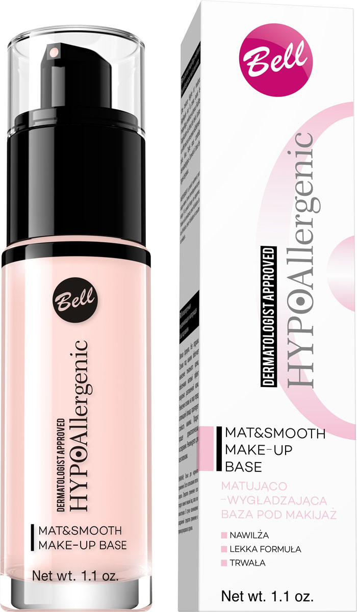 Bell Hypoallergenic База под макияж выравнивающая и матирующая гипоаллергенная Mat&smooth Make-Up Base, Тон №01, 30 млBbmHA001v2