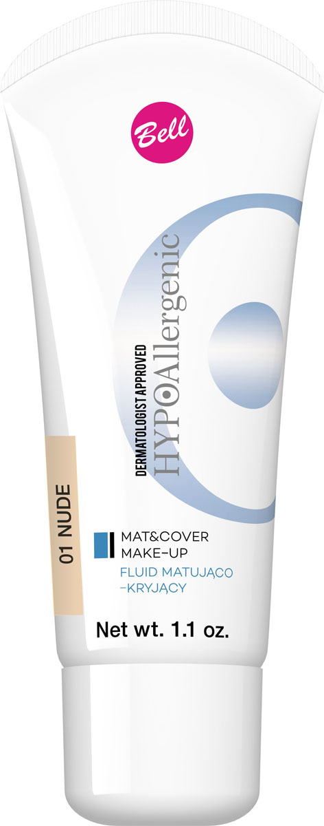 Bell Hypoallergenic Флюид матирующий, Тональный гипоаллергенный Mat&cover Make-up, Тон №01, 30 млBflmcHA001