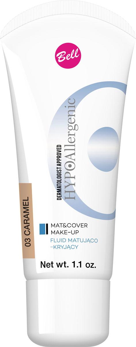Bell Hypoallergenic Флюид матирующий, Тональный гипоаллергенный Mat&cover Make-up, Тон №03, 30 млBflmcHA003