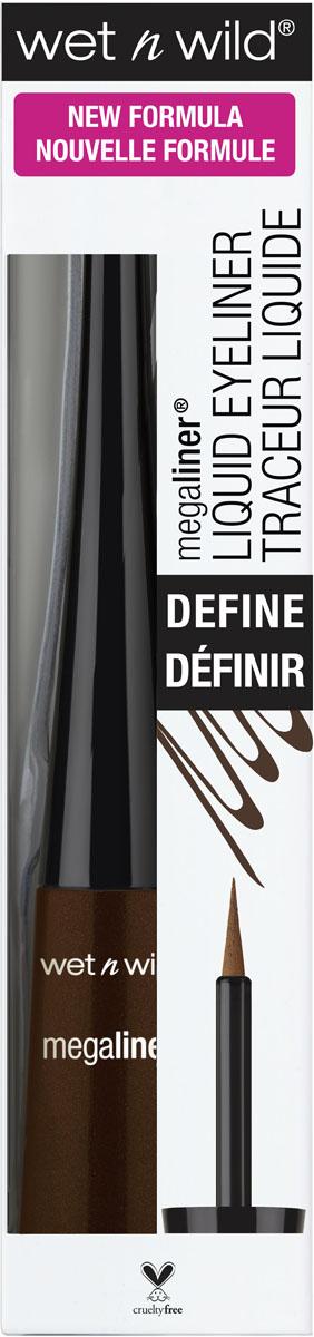 Wet n Wild Подводка для глаз водостойкая Megaliner Liquid Eyeliner Traceur liquide E8721, цвет: коричневый, 3 млE8721Высокая четкость пигментов, уникальная смесь полимеров, простая в управлении, гибкая кисть обеспечивает точное нанесение