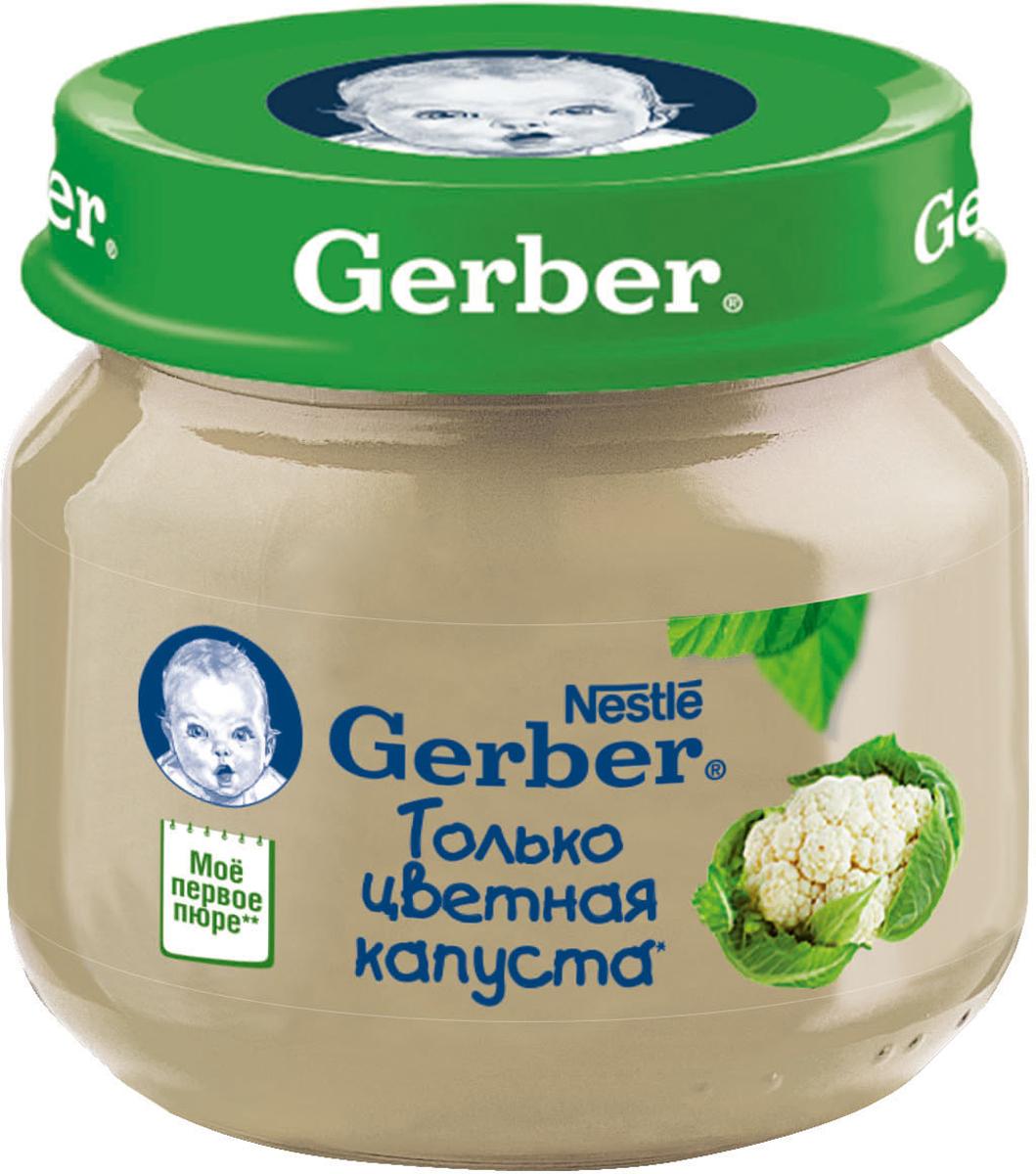 Gerber пюре цветная капуста, 80 г12305884Однокомпонентные овощные пюре Gerber идеально подходят для первого прикорма. Овощное пюре Gerber Цветная капуста - это первое знакомство малыша с разнообразием вкусов, приготовленное из натуральных овощей, богато клетчаткой, органическими кислотами, витаминами и минеральными веществами. Нежная консистенция помогает научиться глотать более густую пищу, а специальный способ производства пюре Gerber позволяет сохранить всю пользу натуральных овощей в каждой баночке. Без добавления крахмала, сахара. Изготовлено без использования генетически модифицированных ингредиентов, искусственных консервантов, красителей и ароматизаторов. Для принятия решения о сроках и способе введения данного продукта в рацион ребенка необходима консультация специалиста. Возрастные ограничения указаны на упаковке товаров в соответствии с законодательством РФ.
