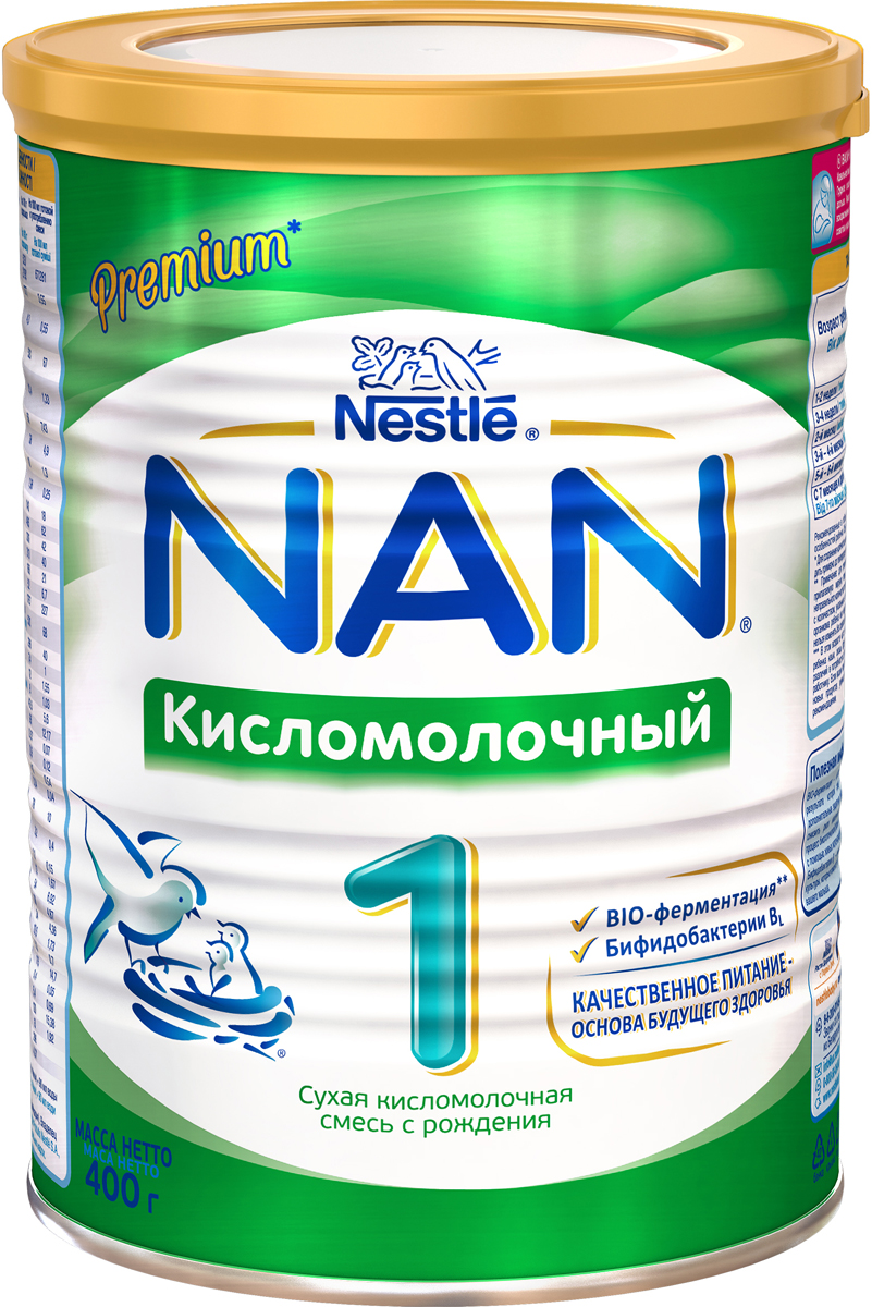 NAN 1 смесь кисломолочная, с рождения, 400 г молочная смесь nan антиколики с рождения 400 г