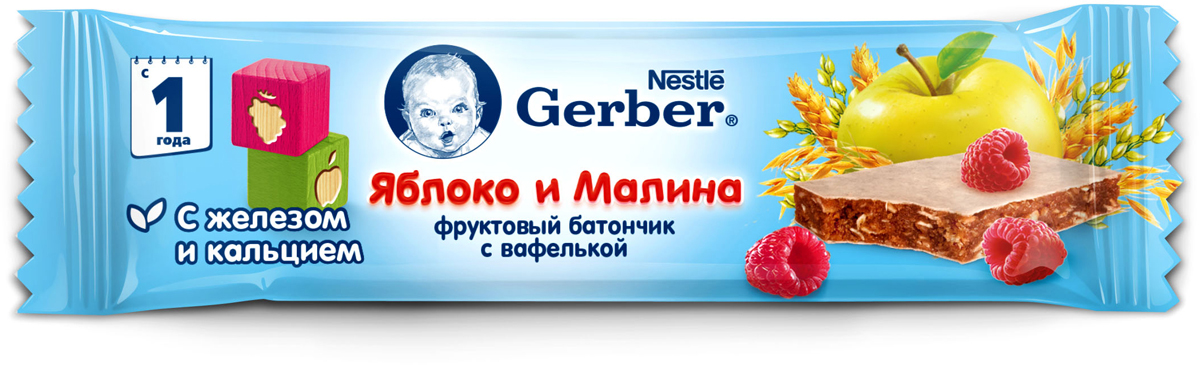 Gerber Doremi фруктово-злаковый батончик с яблоком и малиной, 25 г