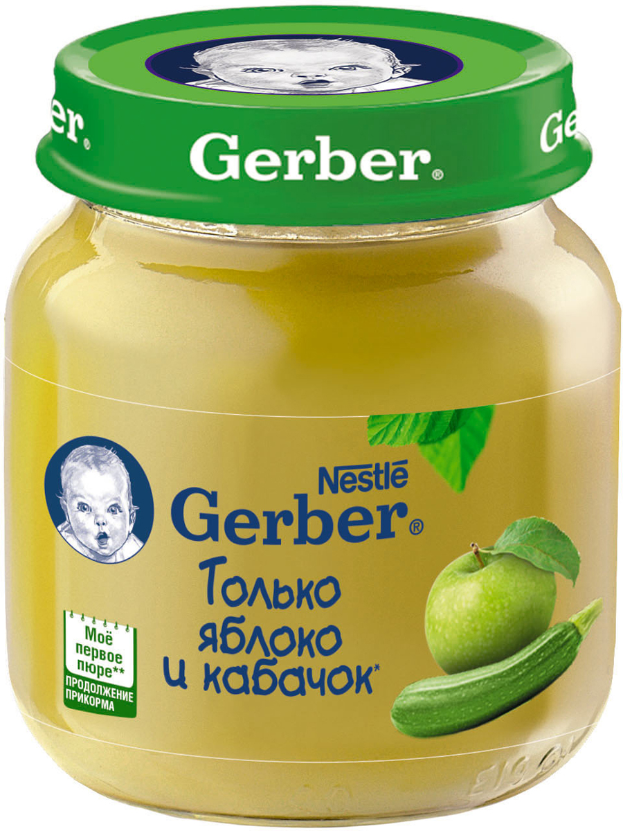 Gerber пюре яблоко, кабачок, 130 г gerber пюре груши вильямс с 4 месяцев 12 шт по 80 г