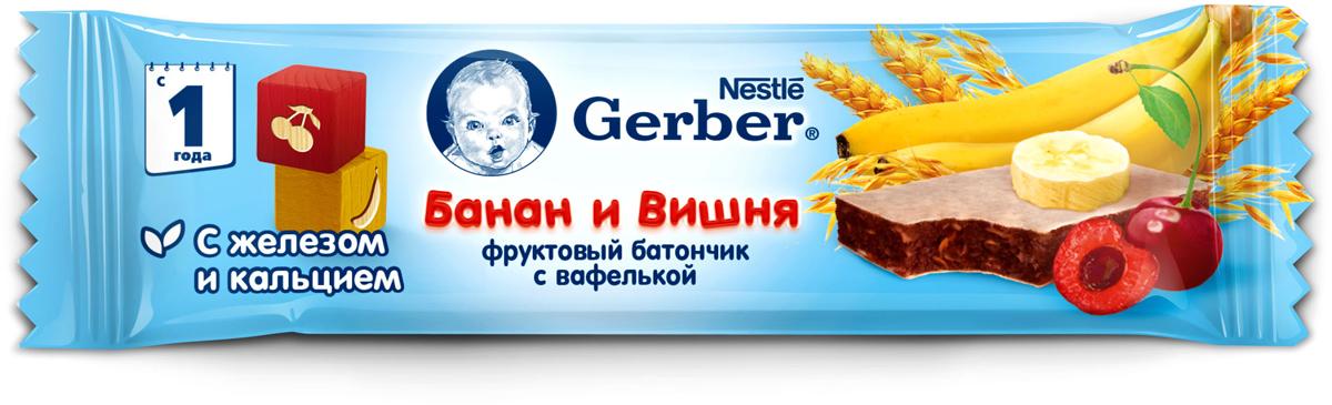 Gerber Doremi фруктово-злаковый батончик с вишней и бананом, 25 г energon protein шоколадный чизкейк батончик злаковый 60 г
