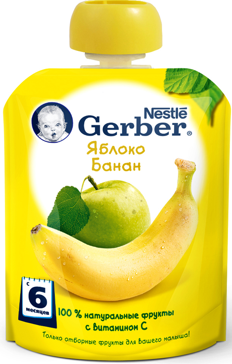 Gerber пюре яблоко и банан, с 6 месяцев, 90 г gerber органик яблоко пюре 16 шт по 90 г