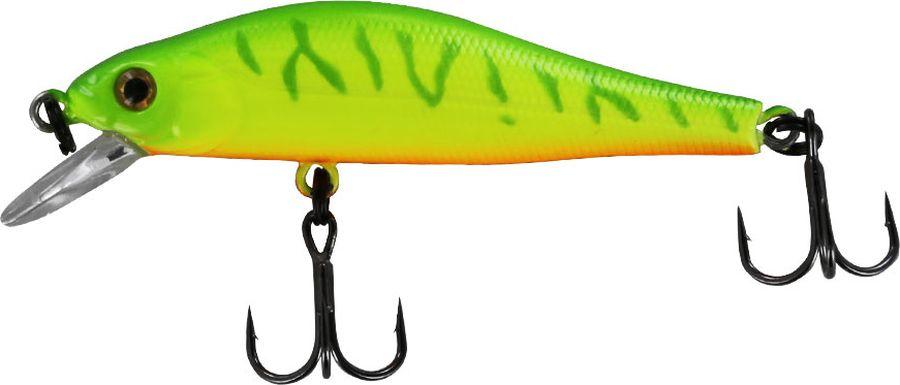 Воблер Tsuribito Jerkbait SP-SR, цвет: салатовый, желтый (064), длина 50 мм, вес 3 г24550Многим уже знаком 8 сантиметровый брат этого воблера, который очень эффективно ловит щуку. Младший брат размером 5 сантиметров отлично привлекает небольшую щуку, и в то же время, прекрасно соблазняет окуня, язя и голавля, что позволяет одной приманкой облавливать практически все небольшие водоёмы.
