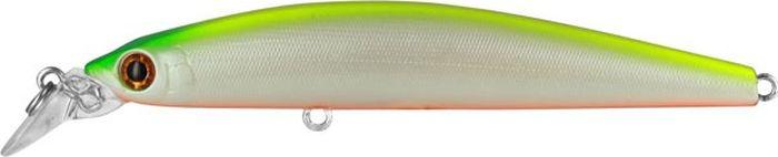 Воблер Tsuribito Minnow F, цвет: лимонный, белый (038), длина 95 мм, вес 9,6 г24615Minnow 95F - отличный воблер для ловли на небольших глубинах и над зарослями травы, где часто охотится щука и другие хищники. Благодаря системе дальнего заброса с магнитом воблер очень хорошо летит при забросе, и устойчиво играет даже при проводке с рывками. Мощные тройники надёжно засекают рыбу при поклёвке. Все эти качества вместе с реалистичной игрой делают этот воблер отличным орудием для ловли крупного хищника.