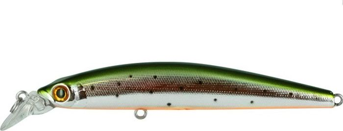 Воблер Tsuribito Minnow S, цвет: серебристый, зеленый (055), длина 95 мм, вес 9,6 г29063Minnow 95S - отличный воблер для ловли на небольших глубинах и над зарослями травы, где часто охотится щука и другие хищники. Благодаря системе дальнего заброса с магнитом воблер очень хорошо летит при забросе, и устойчиво играет даже при проводке с рывками. Мощные тройники надёжно засекают рыбу при поклёвке. Все эти качества вместе с реалистичной игрой делают этот воблер отличным орудием для ловли крупного хищника.