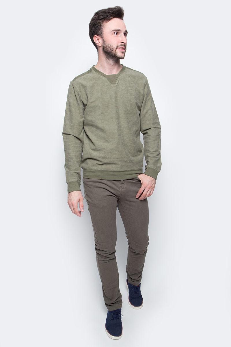 Джемпер мужской Sela, цвет: сероватый хаки. St-213/065-7350. Размер S (46)