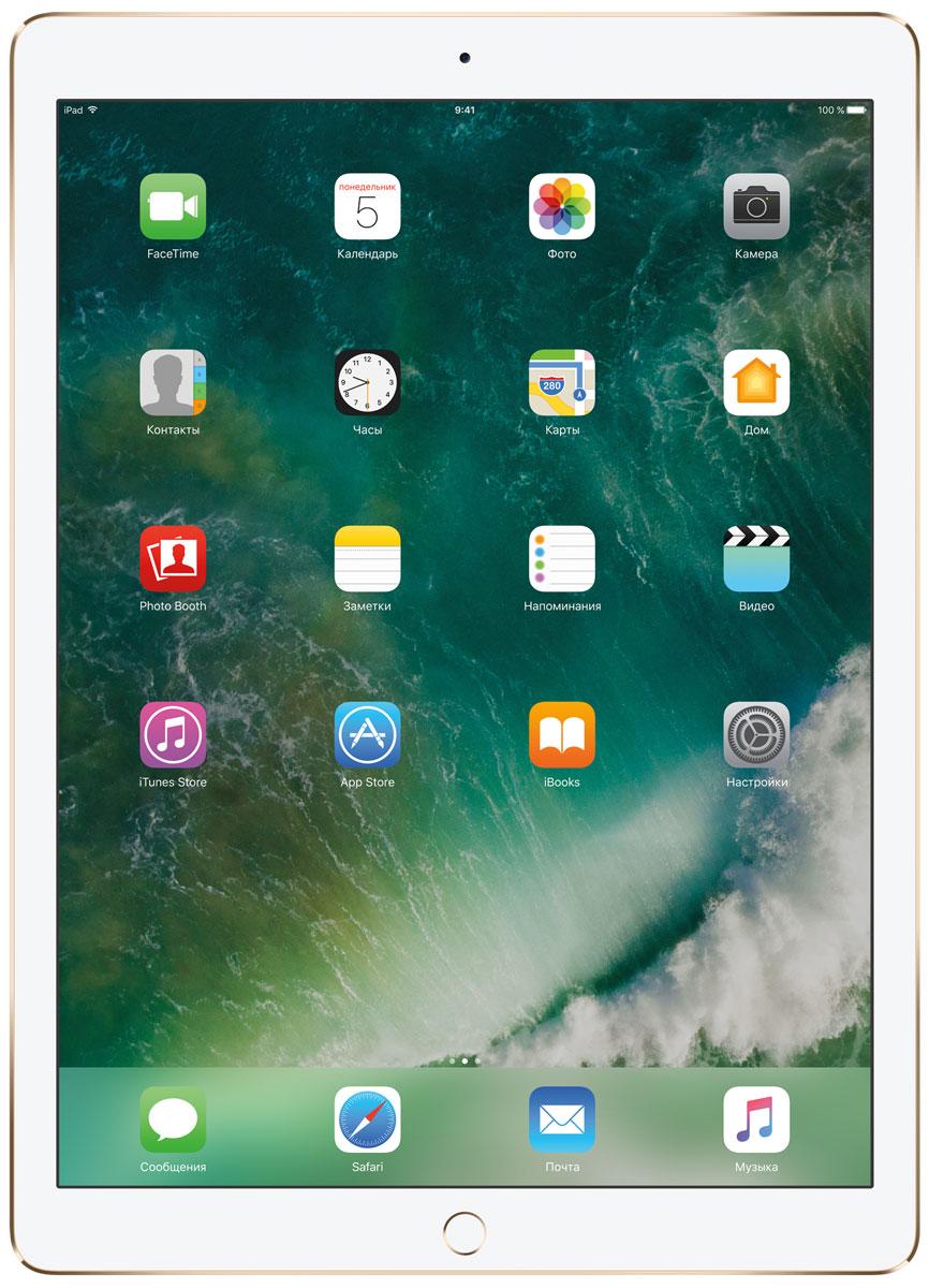 Apple iPad Pro 12.9 Wi-Fi 256GB, GoldMP6J2RU/AКакая бы задача перед вами ни стояла, iPad Pro готов за неё взяться. Он мощнее многих ноутбуков и при этом гораздо удобнее. Дисплей Retina получил впечатляющие возможности и стал потрясающе быстро отзываться на касания.А ещё на устройстве установлена iOS - самая передовая мобильная операционная система в мире. У iPad Pro есть всё, что вам нужно от современного компьютера. И даже больше.Multi-Touch на iPad всегда производил большое впечатление. А новый дисплей Retina поднимает планку ещё выше. Он не только ярче и отражает меньше бликов. Благодаря новой технологии ProMotion существенно выросла и скорость его отклика. Поэтому неважно, что вы делаете - пролистываете страницу в Safari или играете в ресурсоёмкую 3D-игру, - iPad Pro мгновенно отзывается на каждое касание.Дисплей Retina на новом iPad Pro работает на базе технологии ProMotion, которая поддерживает частоту обновления в 120 Гц. И это невероятно красиво. Фильмы и видео смотрятся просто потрясающе, графика в играх буквально летает - без артефактов и сбоев. А при касании дисплея пальцами или Apple Pencil устройство реагирует молниеносно.Процессор A10X Fusion с 64-битной архитектурой и шестью ядрами обеспечивает вас потрясающей мощью. Вы сможете на ходу обрабатывать видеоролики с разрешением 4K. Делать рендеринг сложных 3D-моделей. Открывать большие документы и добавлять свои зарисовки. Всё очень быстро и легко. При этом iPad Pro по-прежнему будет работать без подзарядки целый день.iOS раскрывает способности iPad, делая его ещё более удобным и полезным устройством. Новые функции системы помогают по-другому взглянуть на решение привычных задач. Многое можно настроить на свой вкус. Так что теперь у вас есть все возможности для покорения новых высот.Невероятная производительность, передовой дисплей, две камеры, сверхскоростная беспроводная связь и аккумулятор на целый день работы - всё это умещается в тонком и изящном корпусе iPad Pro. Поэтому вы можете брать его с собой 