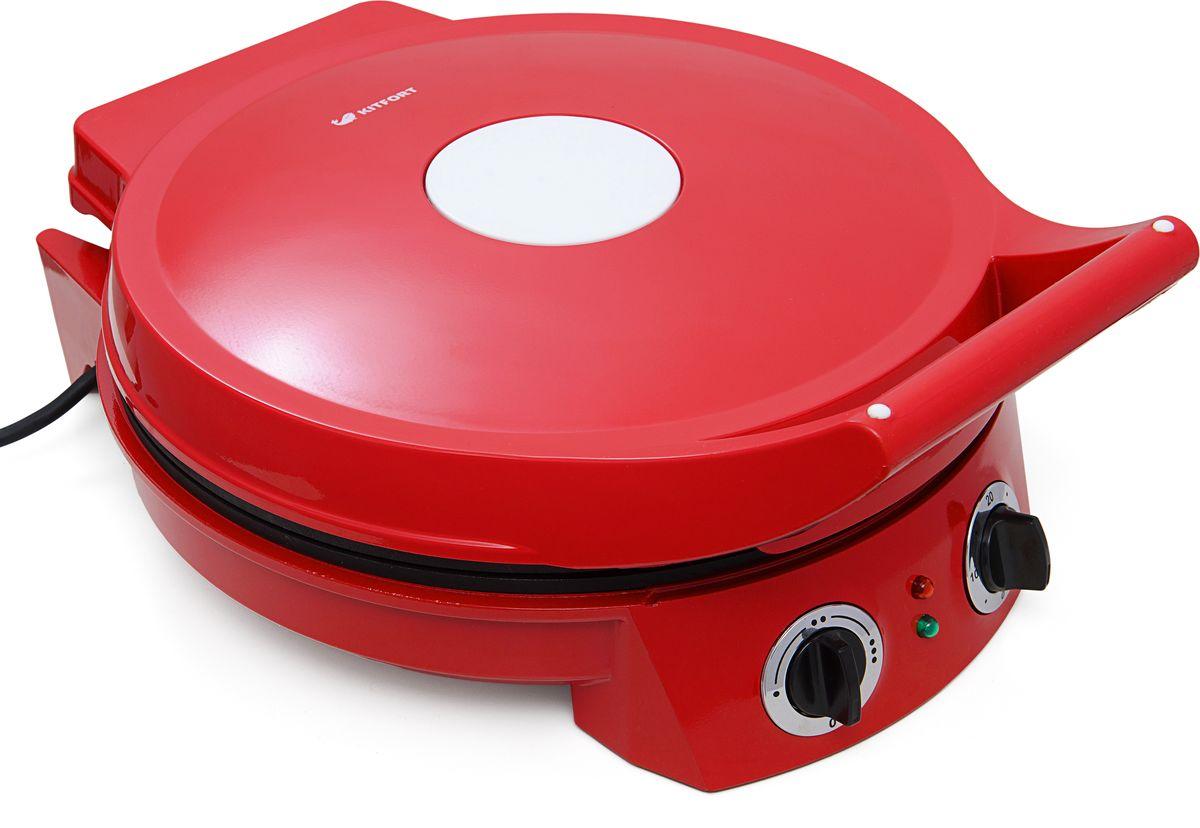 Kitfort КТ-1614, Red пиццамейкерКТ-1614Пиццамейкер Kitfort КТ-1614 поможет приготовить свежайшую пиццу за считанные минуты. Регулируемый термостат позволяет плавнорегулировать температуру приготовления, а таймер выключит пиццамейкер в заданное время. Пиццамейкер оснащен световыми индикаторамипитания и нагрева. Рабочие поверхности с антипригарным покрытием легко очищаются и моются. Для приготовления пиццы необходимбыстрый разогрев до высокой температуры и хороший обогрев сверху, поэтому пиццамейкер Kitfort КТ-1614 обладает большой мощностью. За счетэтого пицца готовится сочной и не высыхает.Возможности и функции:- плавная регулировка температуры- таймер- световойиндикатор нагрева и работы- крышка откидывается на 180о Технические характеристики:Напряжение: 220 В, 50 ГцМощность:1650 ВтРазмер: 325 х 160 x 405 ммРазмер коробки: 356 х 192 х 430 ммДлина шнура: 70 см