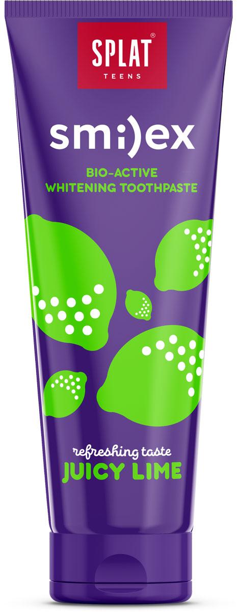 Splat Зубная паста детская Smilex Juicy Lime Сочный Лайм 100 г1008-02-03Натуральная и эффективная отбеливающая зубная паста Splat Smilex Juicy Lime для подростков предназначена для бережного осветления и укрепления эмали, свежести дыхания и эффективной защиты от кариеса!Эффективные, 97% натуральные и безопасные зубные пасты для подростков, которые освежают дыхание и придают белизну улыбке, укрепляют эмаль, защищают от кариеса, эффективно удаляя зубной налет.Натуральный фермент PAPAIN обеспечивает бережное очищение и осветление эмали зубов, а лактат кальция способствует интенсивному укреплению эмали.Экстракт коры магнолии оказывает антибактериальное действие и снижает неприятный запах изо рта.Ионы цинка с натуральными маслами мяты, кожуры лимона и экстрактом коры магнолии обеспечивают мощный противовоспалительный и антибактериальныйэффекты и свежесть дыхания.Уникальная запатентованная система LUCTATOL на основе экстракта японского лакричника до 96% сокращает* образование зубного налета и уничтожает кариесогенные бактерии, способствуя защите от кариеса. *Эффективность доказана клинически.Товар сертифицирован.