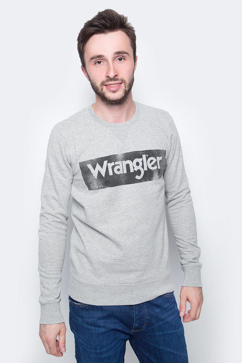 Фото Толстовка мужская Wrangler, цвет: серый. W6532HY37. Размер XXL (54)