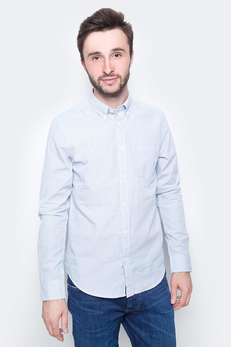 Рубашка мужская Wrangler, цвет: белый, голубой. W58834RAN. Размер XL (52)