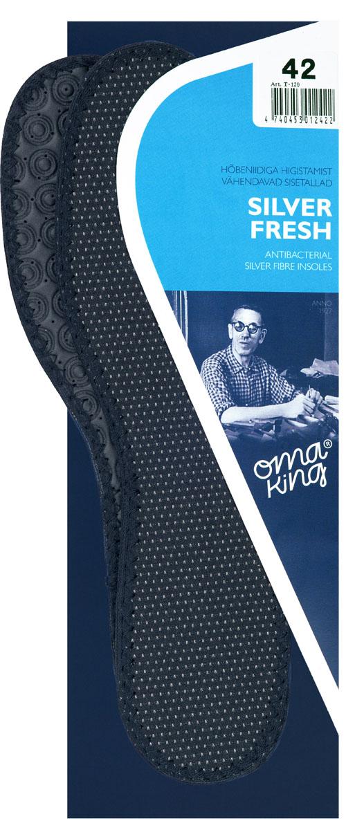 Стелька OmaKing Silver Fresh, цвет: черный. Т-120-43. Размер 42/43Т-120-43Материал, который покрывает стельку OmaKing, содержит антибактериальные серебряные волокна, которые помогают удалить неприятный запах, вызванный возникновением бактерий. Серебряная стелька поддерживает терморегуляцию в вашей обуви. Слой латекса обеспечивает комфорт и помогает ослабить нагрузку при ходьбе.