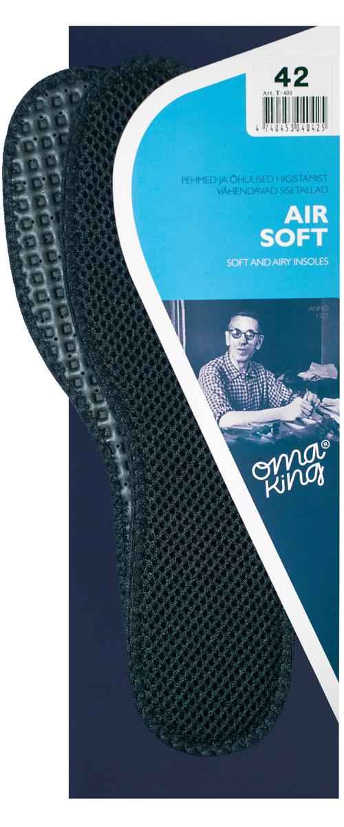 Стелька вентилируемая OmaKing Air Soft, цвет: черный. Т-400-43. Размер 42/43Т-400-43Высококачественная пористая поверхность обеспечивает максимальную циркуляцию воздуха внутри обуви. Мягкая латексная основа защищает от ударов, обеспечивая дополнительный комфорт. Специальная обработка материалов способствует поддержанию приятной для ног среды в течение целого дня.