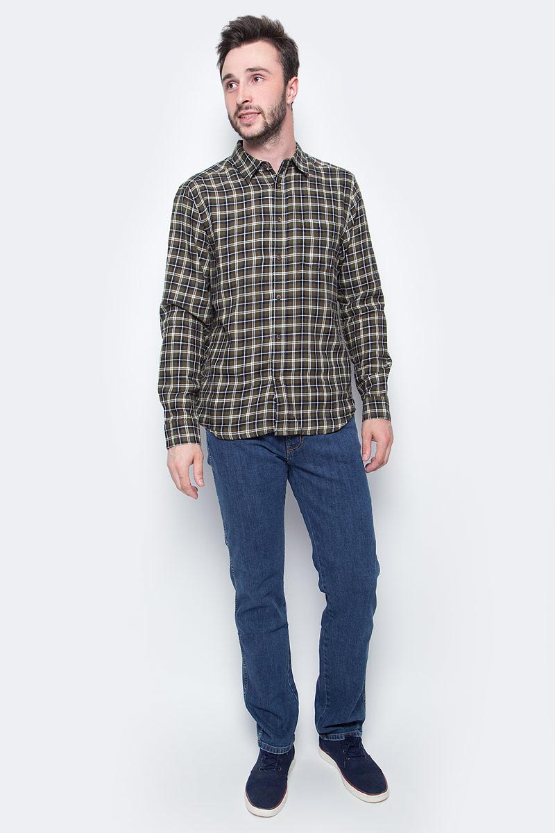 Рубашка мужская Wrangler, цвет: коричневый, черный, белый. W5760MLIG. Размер S (46)W5760MLIGМужская рубашка Wrangler с длинными рукавами и отложным воротником выполнена из качественного хлопка. Изделие застегивается на пуговицы, имеется нагрудный накладной карман. Манжеты рукавов застегиваются на пуговицы, низ изделия закруглен.