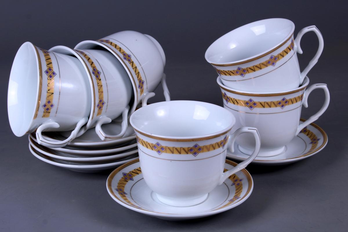 Набор чайный Olaff, 12 предметов. JDFG-12QWB-009JDFG-12QWB-009Набор чайный, 12 предметов: 6 чашек 220 мл + 6 блюдец, декор золото, прямоугольная подарочная упаковка с окошком