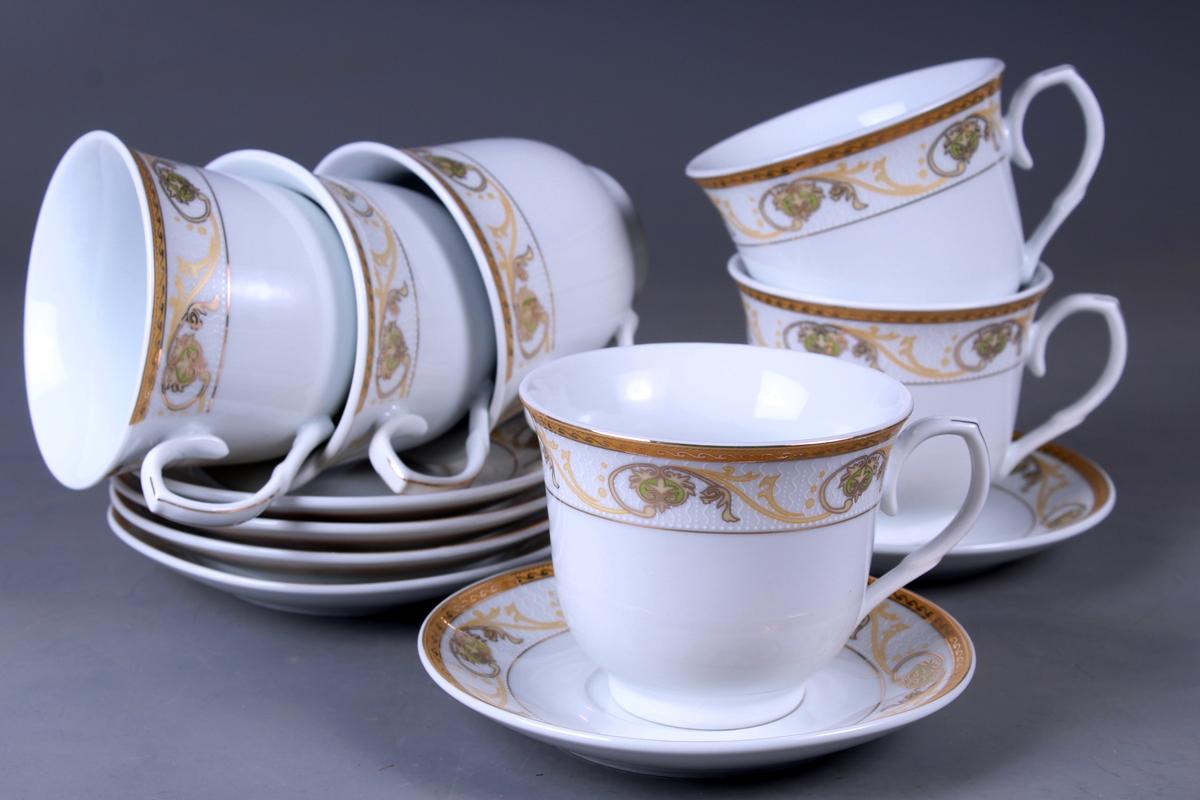 Набор чайный Olaff, 12 предметов. JDFG-12QWB-010JDFG-12QWB-010Набор чайный, 12 предметов: 6 чашек 220 мл + 6 блюдец, декор золото, прямоугольная подарочная упаковка с окошком