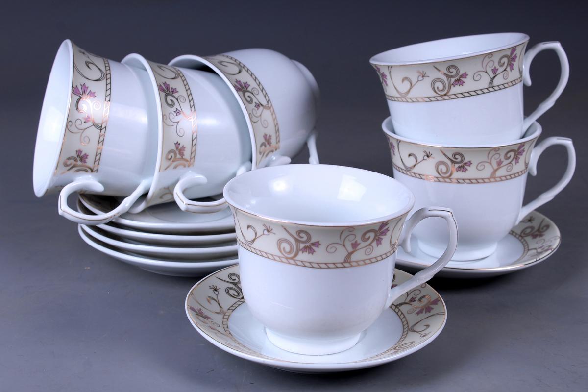 Набор чайный Olaff, 12 предметов. JDFG-12QWB-011JDFG-12QWB-011Набор чайный, 12 предметов: 6 чашек 220 мл + 6 блюдец, декор золото, прямоугольная подарочная упаковка с окошком