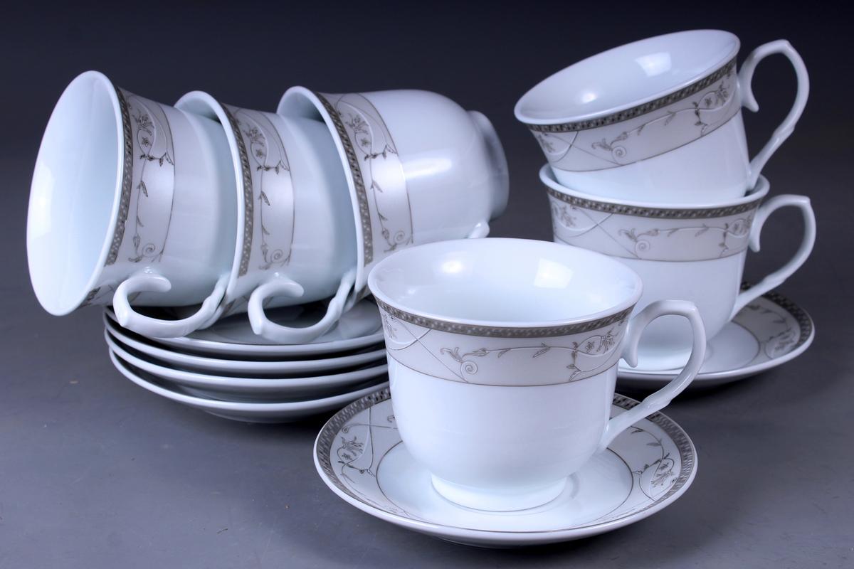 Набор чайный Olaff, 12 предметов. JDFS-12QWB-001JDFS-12QWB-001Набор чайный, 12 предметов: 6 чашек 220 мл + 6 блюдец, декор серебро, прямоугольная подарочная упаковка с окошком
