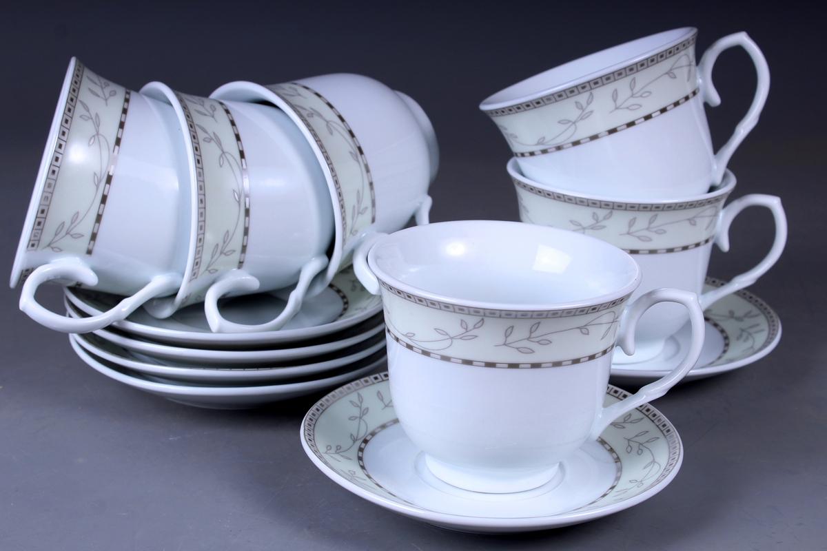 Набор чайный Olaff, 12 предметов. JDFS-12QWB-002JDFS-12QWB-002Набор чайный, 12 предметов: 6 чашек 220 мл + 6 блюдец, декор серебро, прямоугольная подарочная упаковка с окошком