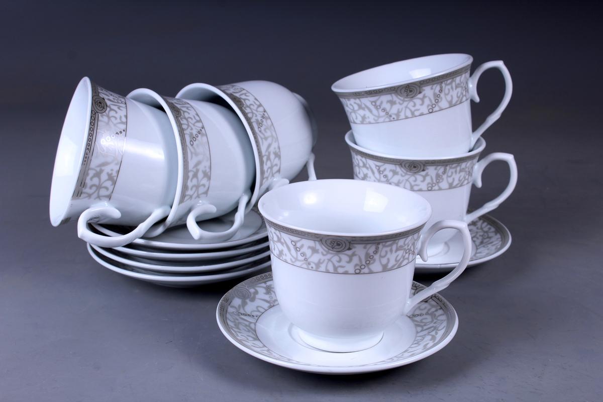 Набор чайный Olaff, 12 предметов. JDFS-12QWB-006JDFS-12QWB-006Набор чайный, 12 предметов: 6 чашек 220 мл + 6 блюдец, декор серебро, прямоугольная подарочная упаковка с окошком