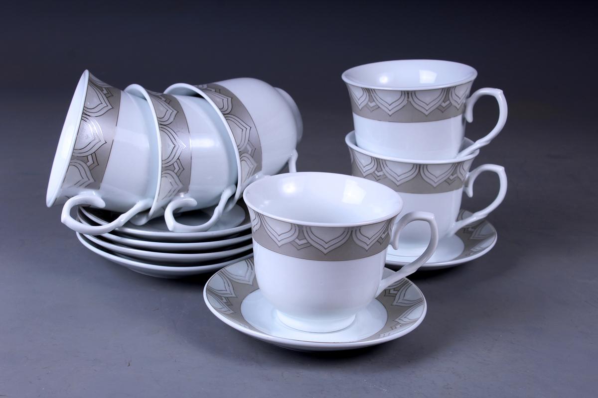 Набор чайный Olaff, 12 предметов. JDFS-12QWB-007JDFS-12QWB-007Набор чайный, 12 предметов: 6 чашек 220 мл + 6 блюдец, декор серебро, прямоугольная подарочная упаковка с окошком