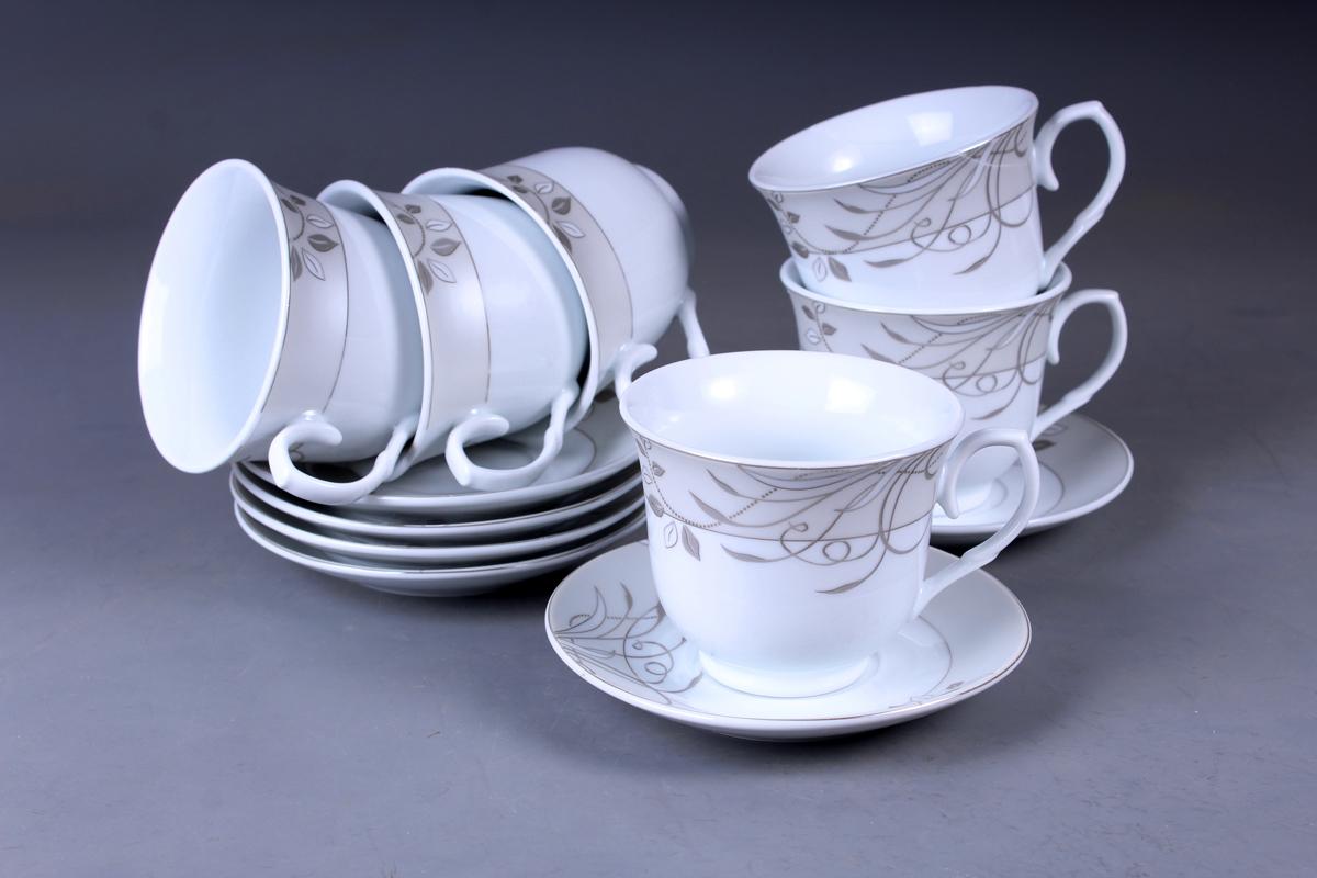 Набор чайный Olaff, 12 предметов. JDFS-12QWB-008JDFS-12QWB-008Набор чайный, 12 предметов: 6 чашек 220 мл + 6 блюдец, декор серебро, прямоугольная подарочная упаковка с окошком