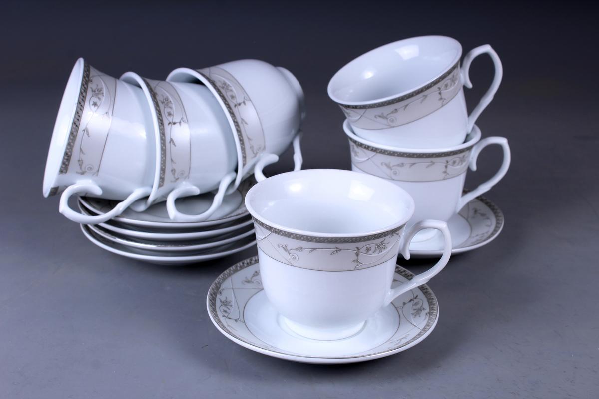 Набор чайный Olaff, 12 предметов. JDFS-12RWB-001JDFS-12RWB-001Набор чайный, 12 предметов: 6 чашек 220 мл + 6 блюдец, декор серебро, круглая подарочная упаковка с окошком