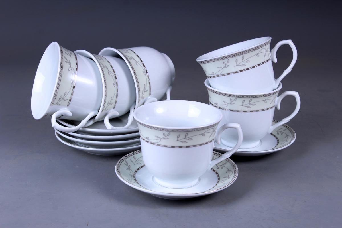 Набор чайный Olaff, 12 предметов. JDFS-12RWB-002JDFS-12RWB-002Набор чайный, 12 предметов: 6 чашек 220 мл + 6 блюдец, декор серебро, круглая подарочная упаковка с окошком