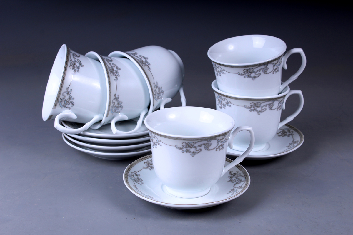 Набор чайный Olaff, 12 предметов. JDFS-12RWB-004JDFS-12RWB-004Набор чайный, 12 предметов: 6 чашек 220 мл + 6 блюдец, декор серебро, круглая подарочная упаковка с окошком